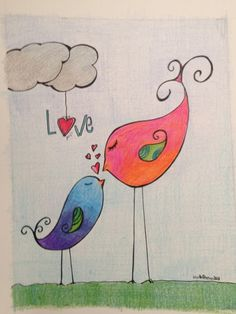 Bird doodle art to draw 57 Ideas Bird Drawings, Doodle Drawings, Doodle Art, Doodle Ideas, Love Birds Drawing, Love Birds Painting, Bird Doodle, Doodle Flowers, Happy Paintings