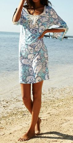 Love this as a swimsuit cover up - Lilly Pulitzer Sarah Tunic Dress in Shape Up or Ship Out Lilly Pulitzer, Passion For Fashion, Love Fashion, Womens Fashion, Fashion Ideas, Kids Fashion, Summer Dresses With Sleeves, Spring Dresses, Resort Wear For Women