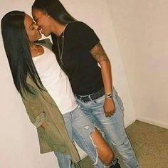 Black Lesbians, By Any Means Necessary, Want To Be Loved, Relationship Goals, Black Women, T Shirts For Women, Couple Photos, Lesbian Couples, Fashion