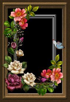 by collect-and-creat on DeviantArt Birthday Photo Frame, Birthday Frames, Framed Wallpaper, Flower Wallpaper, Flower Frame, Flower Art, Photo Rose, Picture Borders, Frame Border Design