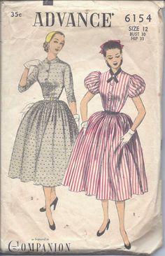 Vintage 50s Advance Dress Pattern 6154 B30 by vintagepatternstore, $9.93