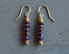 Amethyst Earrings Amethyst and Gold Beaded Earrings February