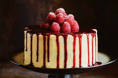 Coconut and white chocolate cake with raspberries