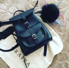 Baby Leather Backpack Black made by @grafea #backpack #leather #pompom #fluffy #beautiful #style #fashion #outfit #grafea www.grafea.co.uk
