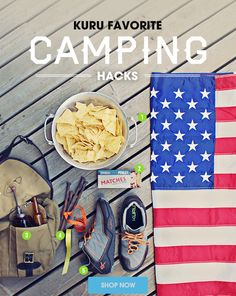 KURU's Favorite Camping Hacks for Your Memorial Day Campout... 1. Fly the Flag 2. Light your fire using corn chip kindling 3. Natural Tick Repellent using Tea Tree Oil 4. Mark your tent stakes with bright ribbon 5. Be happy and wear KURU! Read more by clicking the image...
