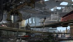 Film Sketchr: Sprawling 'Total Recall' Concept Art by Andy Chung