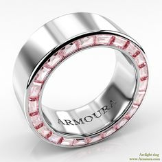 Arclight ring in platinum with pink diamonds from www.armoura.com