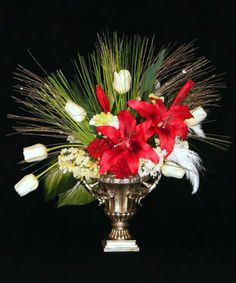Red Lily & White Tulips Christmas Silk Floral Arrangement