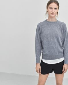 Pure, understated luxury with a relaxed vibe. A Sporty raglan style pullover in the softest 100% cashmere. Has a sporty armhole detail and small rib at cuff and hem.