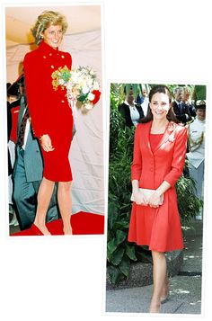 Princess Diana and Kate Middleton's Similar Style  Radiant in Red