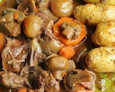 """Beef bourguignon made in a crock pot, Julia Child-style. +""""Tested"""" -- Chip's.  Add peas and/or sour cream at the table if desired.+"""