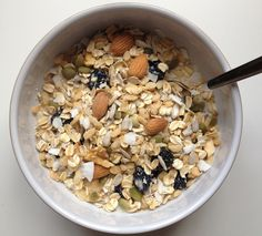 Cherry Coconut Muesli - my adapted list: rolled oats, dried apple, seeds such as sunflower, ground flax or chia, coconut flakes, almonds, cinnamon, dried cherries, plant milk; meredone