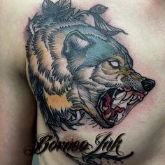 Neo trad wolf on @nikkkely .Thks buddy ! #eagleviewtattooproducts #iwasborneoinked #borneoinktattoos #tattoodo #tattoo #neotraditional #neotraditionaltattoo #neotrad #newtraditionalgallery #tattoolifemagazine #tatowiermagazin