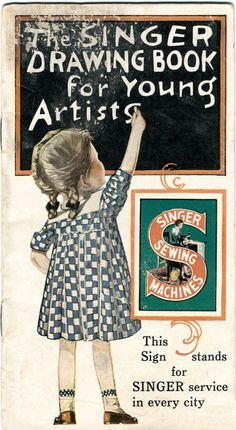 1928 Singer Drawing Book for Young Artists Model 20 Child's Sewing Machine