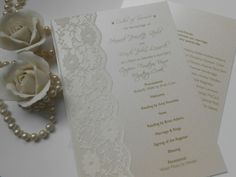 Beautiful pearl and lace Order of Service