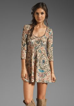FREE PEOPLE   Printed Musa Burnout Velvet Dress in Sand Combo at Revolve Clothing