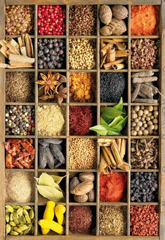 a 1000 piece jigsaw puzzle by Educa, features an illustration of many spices in a decorative display case! Finished size: x Bandeja Bar, Indian Food Recipes, Healthy Recipes, Spices And Herbs, Dried Fruit, Korn, Spice Things Up, Food Styling, Food Art