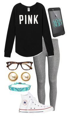 """Ootd "" by madelyn-abigail ❤ liked on Polyvore featuring H&M, Victoria's Secret PINK, Converse, Ray-Ban, Kim & Zozi, Kate Spade and LifeProof"