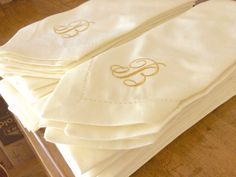 Bulk Wedding Cloth Napkins monogrammed by WhiteTulipEmbroidery