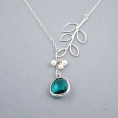 Glass Drop and Branch Necklace - 'Florence Teal' Freshwater Pearls and Sterling Silver Chain