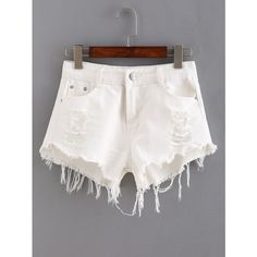 Ripped Raw Hem White Denim Shorts (€12) ❤ liked on Polyvore featuring shorts, white, destroyed shorts, torn jean shorts, white jean shorts, ripped jean shorts and denim short shorts