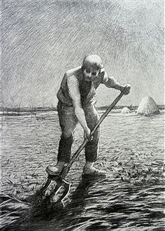 Drawing of a farmer turning the soil, 1892, by Giovanni Segatini