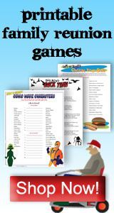 Family Reunion games and activities for family gatherings. Introduction games, get to know games, and a variety of games for all ages.