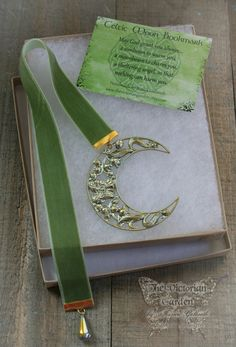 CELTIC MOON ornate Celtic crescent moon by TheVictorianGarden
