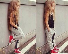 Cool Baby girl with red shoes #fashion #kids #summer look