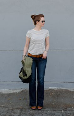 striped T / utility jacket / faded denim / cognac belt + heels // member Cynthia Brown