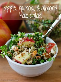 Apple, Quinoa, and Almond Kale Salad: An easy, no bake side dish packed with flavor, fiber, and protein. via @frshaprilflours