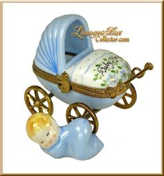 Baby Boy Carriage Limoges Box (Beauchamp)