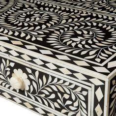 Bernhardt Interiors. Padma Desk with ivory color bone inlay. #blackandwhite