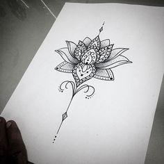 Mais um design de lotus feminino! #art #arte #ink #inked #draw #desenho #tatu #tattoo #tattoos ...