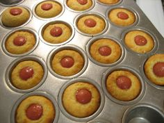 Non-fried corn dogs! Hot dogs, Jiffy corn bread mix and a muffin pan! Very easy and tastes very close to regular corn dogs. Corn Dog Muffins, Tapas, Mini Corn Dogs, Hot Dogs, Jiffy Cornbread, Snack Recipes, Cooking Recipes, Muffin Pan Recipes, Hot Dog Recipes