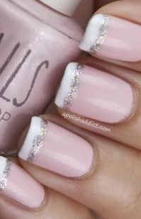 Nail ideas - would be more natural with the sparkle part and white tips.
