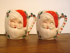 Santa Mugs with a Twinkle in Eyes Ceramic by VintageReinvented