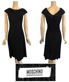 Dress for Women, Evening Cocktail Party On Sale, Black, polyester, 2017, 10 12 8 Moschino