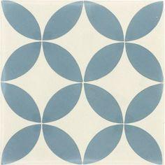 Carreau de ciment intérieur Palmette PREMIUM, bleu et blanc, 20 x 20 cm | Leroy Merlin