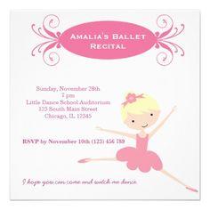 Ballet Recital Custom Invitations