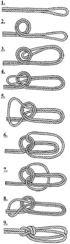 Paracord or rope double bowline on a bite. Survival Knots, Survival Skills, Survival Prepping, Rope Knots, Macrame Knots, Knot Braid, Loop Knot, Paracord Projects, Survival Tools