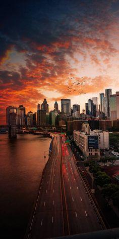 Sunset Over Manhattan, New York City New York Wallpaper, Sunset Wallpaper, City Wallpaper, Fall Wallpaper, Bridge Wallpaper, Screen Wallpaper, Cityscape Photography, City Photography, Nature Photography