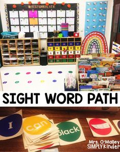 Create a sight word path for your students to walk and read.  #teaching #kindergarten #sightwords #reading