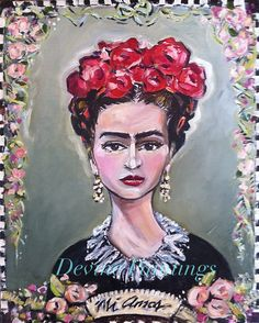 Frida Kahlo Painting on canvas by DevinePaintings on Etsy, $295.00
