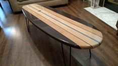 x Surfboard Coffee Table Wooden Surfboard Table Surf Furniture Table Surf, Surfboard Coffee Table, Wooden Surfboard, Decoration Surf, Surf Decor, Galveston, Coffee Table Stand, Coffee Tables, Surfboard Painting