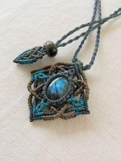 天然石 ラブラドライト マクラメ編みネックレス