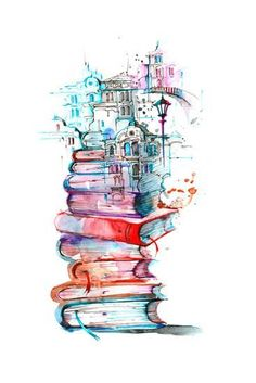 Art Print: Reading City by okalinichenko : Harry Potter Wallpaper, Harry Potter Art, Art Drawings Sketches, Music Drawings, Cute Wallpapers, Amazing Art, Watercolor Paintings, Watercolor Books, Art Decor