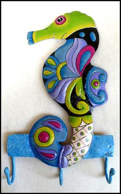 Painted Metal Seahorse Wall Hook Bathroom Decor   - Haitian recycled steel drum art -  by TropicAccents, $22.95