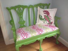 """Outdoor pillow Lilly the Lobster pink green 20"""" crustacean claws born this way Pulitzer inspired Crabby Chris Original"""