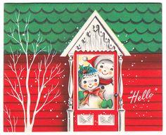 'Hello' Snowman Couple - Vintage Christmas Card